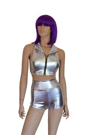 Metallic Silver Mini Shorts