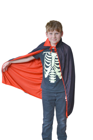 Kid's 90cm Black and Red Reversible Vampire Cape