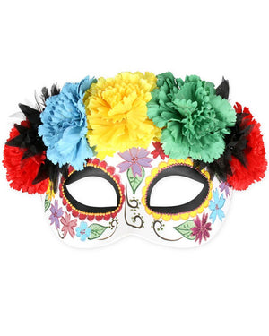 Day of the Dead Floral Half Mask