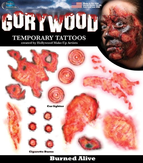 Burned Alive Marks Temporary Tattoos
