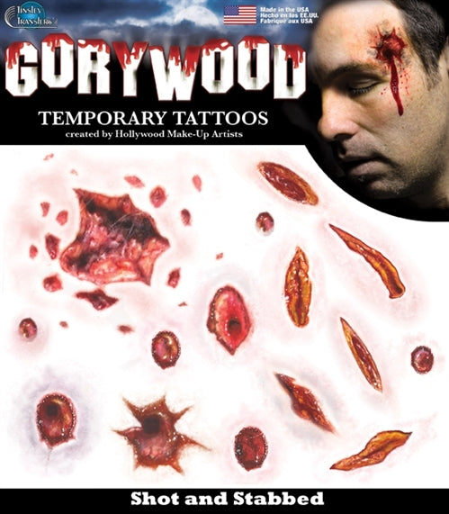 Shot and Stabbed Temporary Tattoos