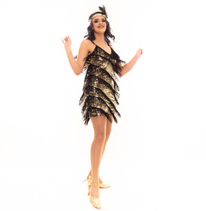 Great Gatsby Inspired Flapper Dress in Gold