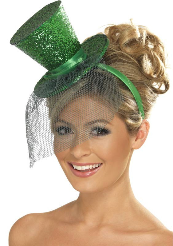 Glittery Green Top Hat Headband