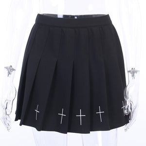 Black Cross Pleated Skirt