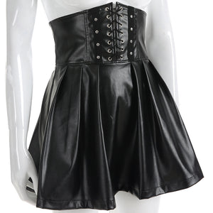Black Pleather Corset Skirt