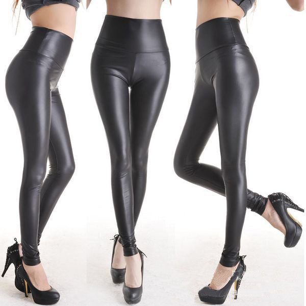 High Waisted Black Wet Look Leggings