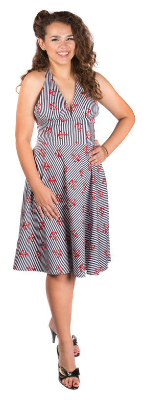 Halterneck Striped Anchor Dress