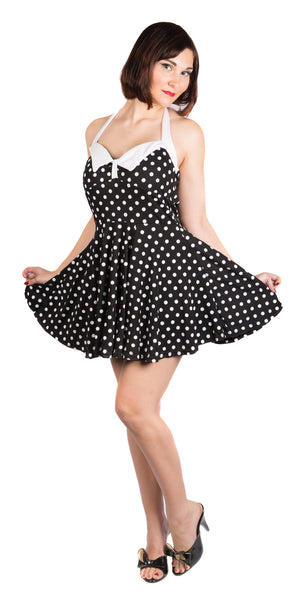 Black and White Polka Dot Mini Dress