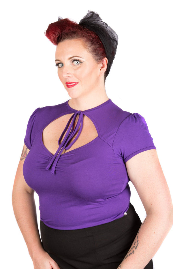 Purple Pin-Up Tie Top