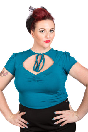Teal Pin-Up Tie Top