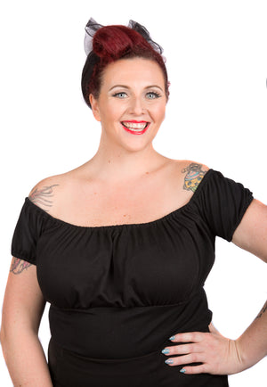 Black Puffy Sleeved Pinup Top