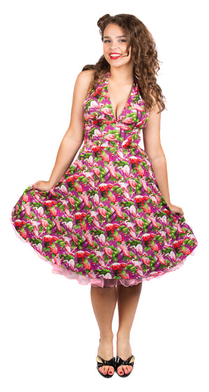 Halterneck Flamingo Dress