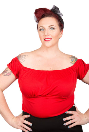 Red Puffy Sleeved Pinup Top