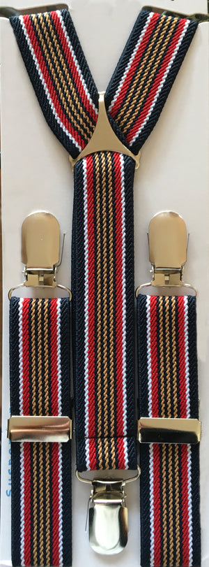 Blue, Golden and Red Stripes Suspender