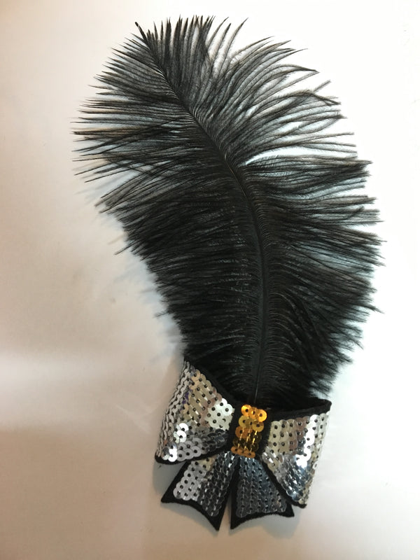 Sequinned Feathered Hair Bow