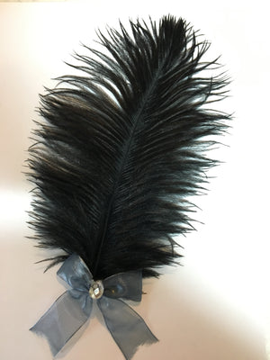 Grey and Black Feathered Hair Clip