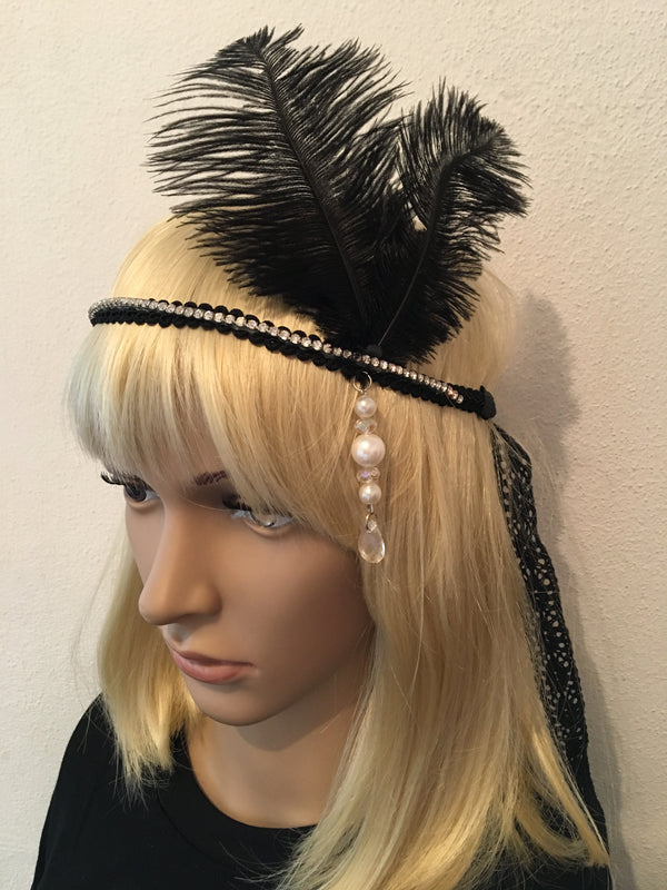 Black Diamonte Gatsby Headband