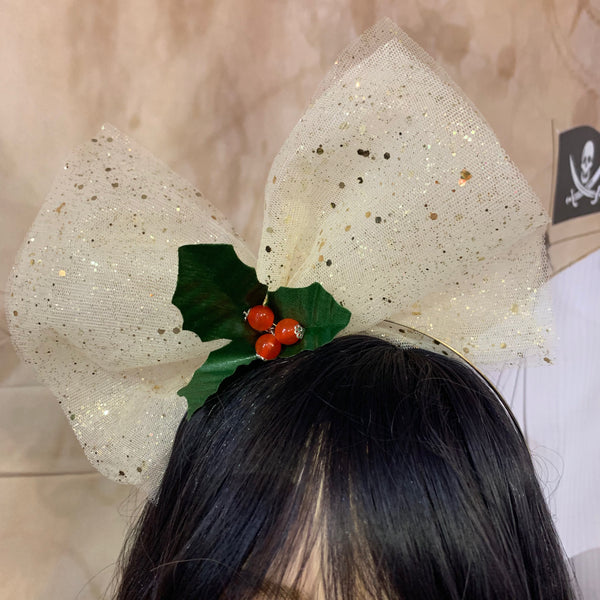 Gold Glitter Christmas Hair Bow
