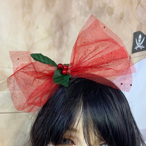 Red Glitter Christmas Hair Bow