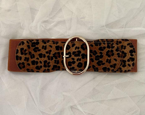 Leopard skin cincher belt with gold buckle