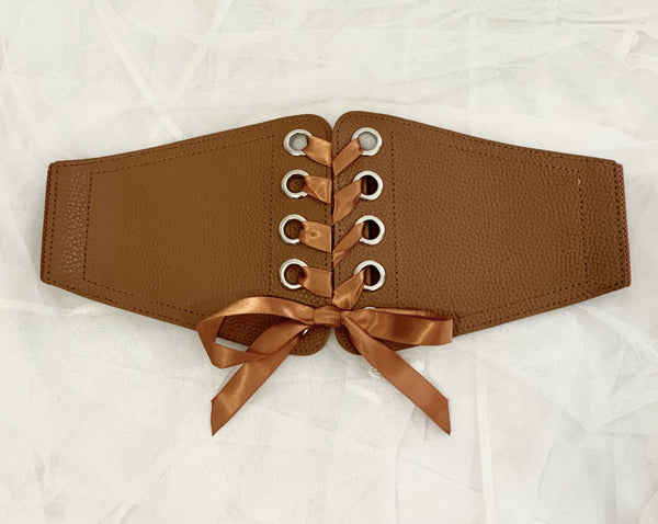 Corset cincher belt with ribbon brown