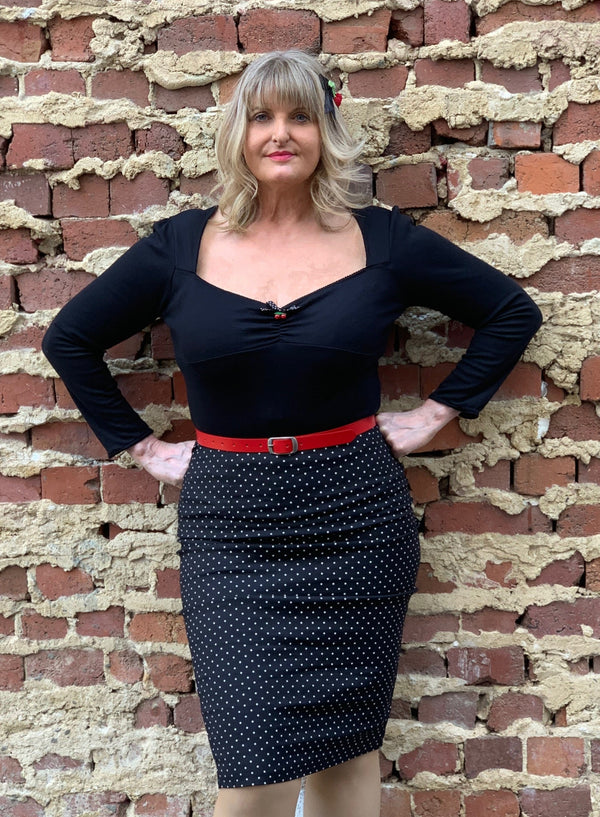Black and White Polka Dot Wiggle Skirt