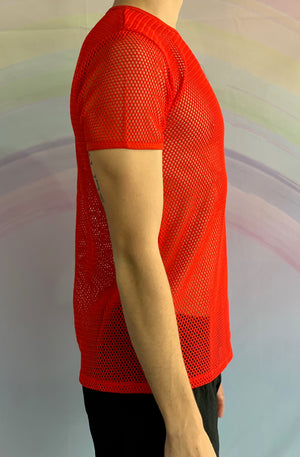 Red Short Sleeved Fishnet Top