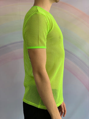 Fluro Yellow Short Sleeved Fishnet Top