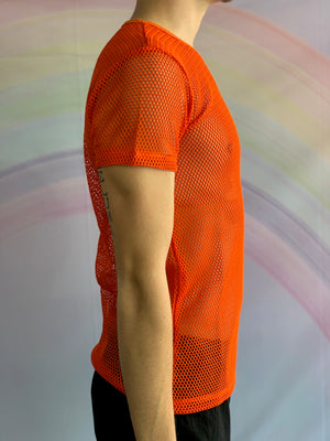 Orange Short Sleeved Fishnet Top