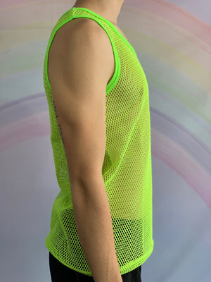 Fluro Yellow Fishnet Singlet
