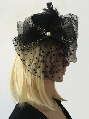 Black Tulle Mini Steampunk Hat