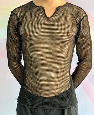 Black Long Sleeved Mesh Top