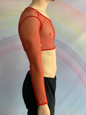 Red Long Sleeved Cropped Fishnet Top
