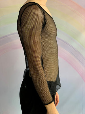 Long Sleeved Black Mesh Shirt