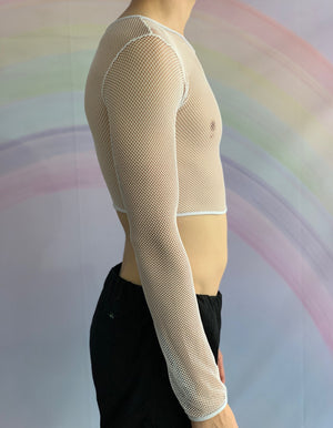 White Long Sleeved Cropped Fishnet Top