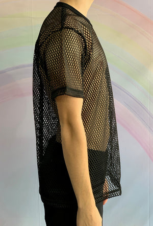 Black Short Sleeved Fishnet T-Shirt