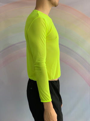 Long Sleeved Fluro Yellow Mesh Shirt
