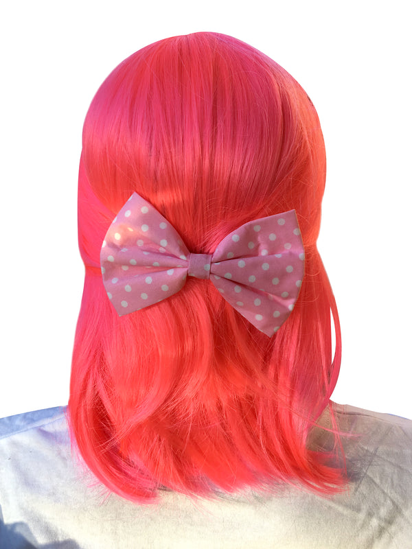 Pink Bow With Polka Dots