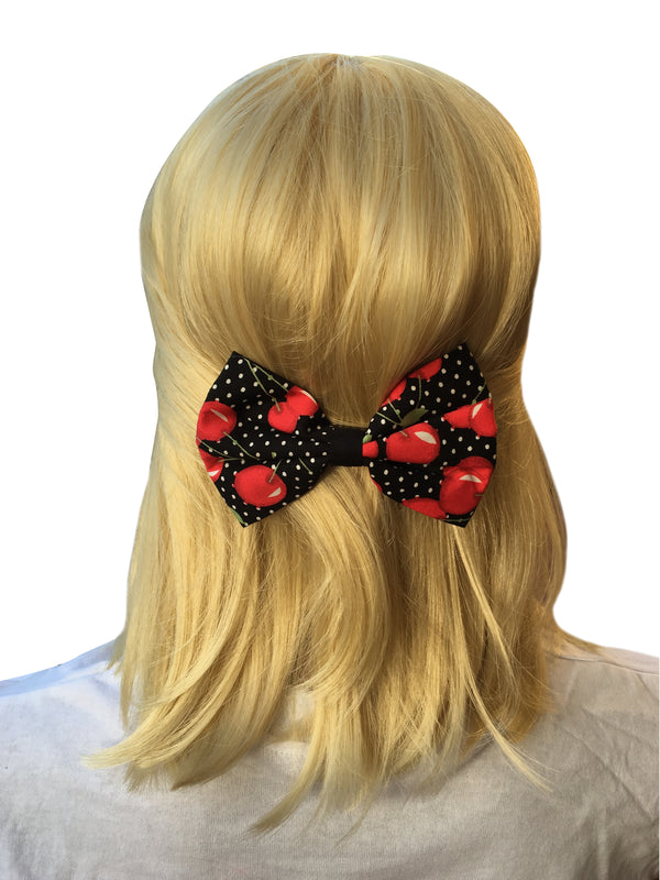 Cherry Bow With Polka Dots