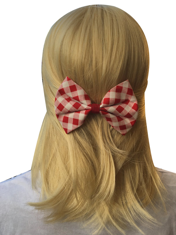 Red and White Checked Hair Bow