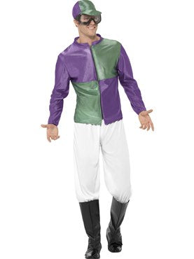 Purple & Green Men's Jockey Costume
