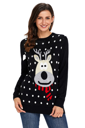 Black Reindeer Knitted Ugly Christmas Pullover