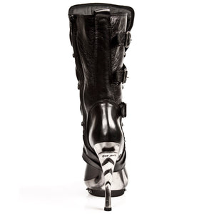 M.PUNK001-C1 Ladies Calf High Black Leather Boots