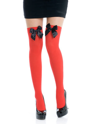 Red Thigh Highs with Black Bows