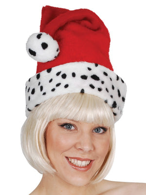 Santa Hat with Dalmatian Trim