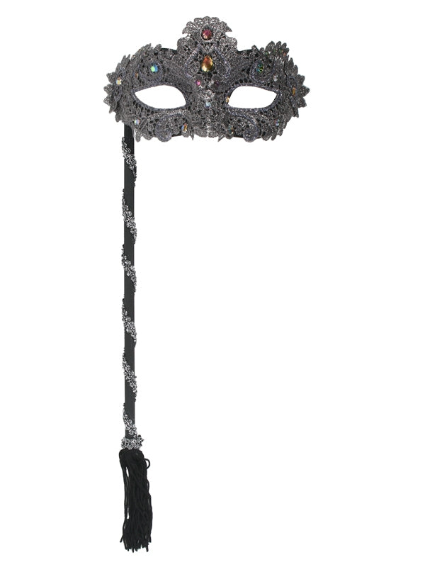 Black Glitter and Lace Mask on Stick