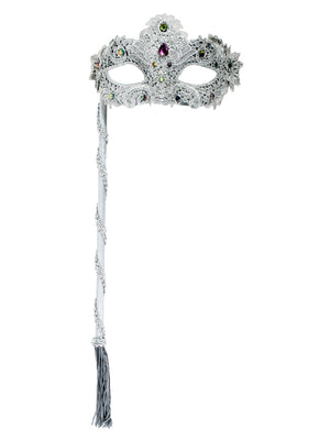 Silver Glitter and Lace Mask on Stick