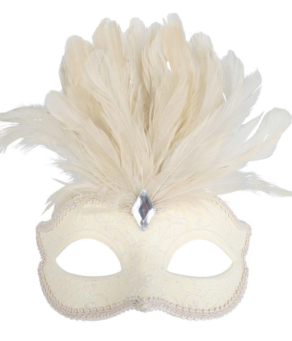 Cream Glittery Eye Mask with Feathers
