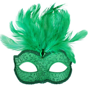 Bright Green Glittery Eye Mask with Feathers