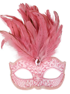 Pink Glittery Eye Mask with Feathers